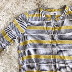OLD NAVY yellow+blue striped long sleeve tunic top